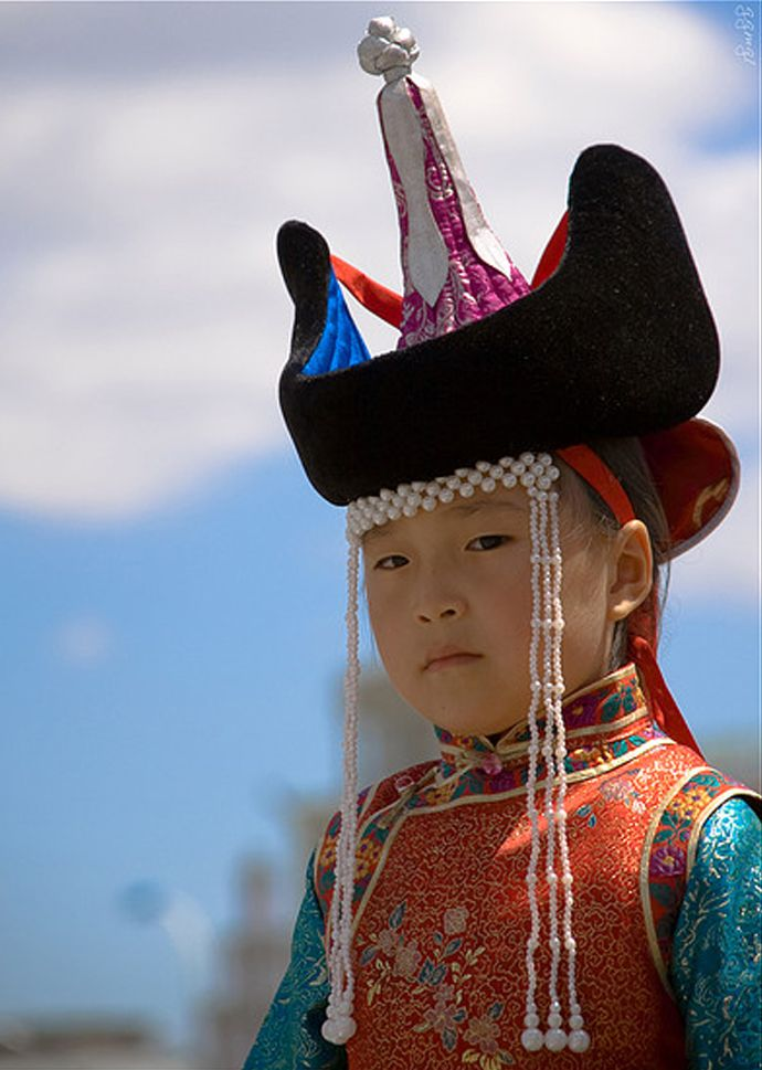 """Mongolian girl in traditional dress"" 