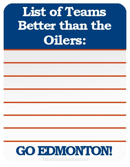 List of Teams Better than the Edmonton Oilers ..Zero....Zip....Zilch....Nada....None..
