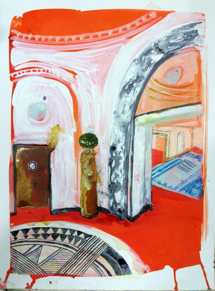 Karoliina Hellberg: Punainen aula, 2015, ink and watercolour on paper, 44x57 cm- Karoliina Hellberg