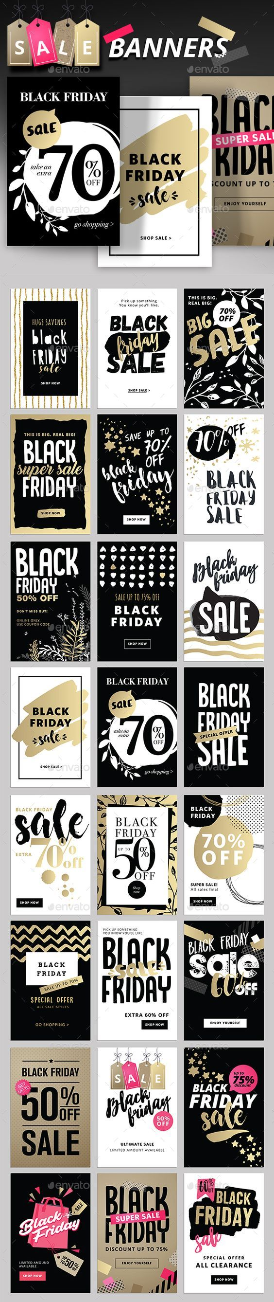 Black Friday Social Media Banners Template PSD, Transparent PNG, Vector EPS, AI Illustrator: