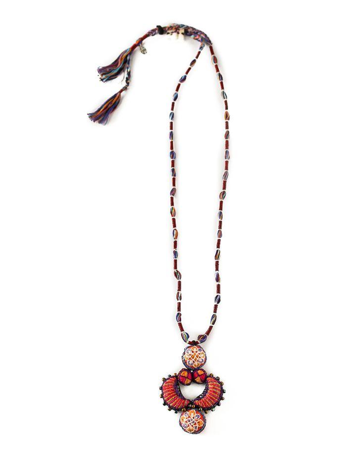 S jo Bird Moon necklace. Handmade. Cotton / Metallic thread / Silver / Beads www.sjoaccessories.com