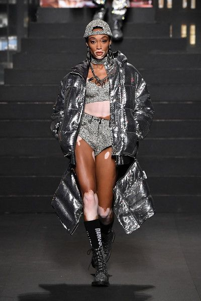 a792a82a32 Winnie Harlow walks the runway during the Moschino x H M - Runway at Pier  36.