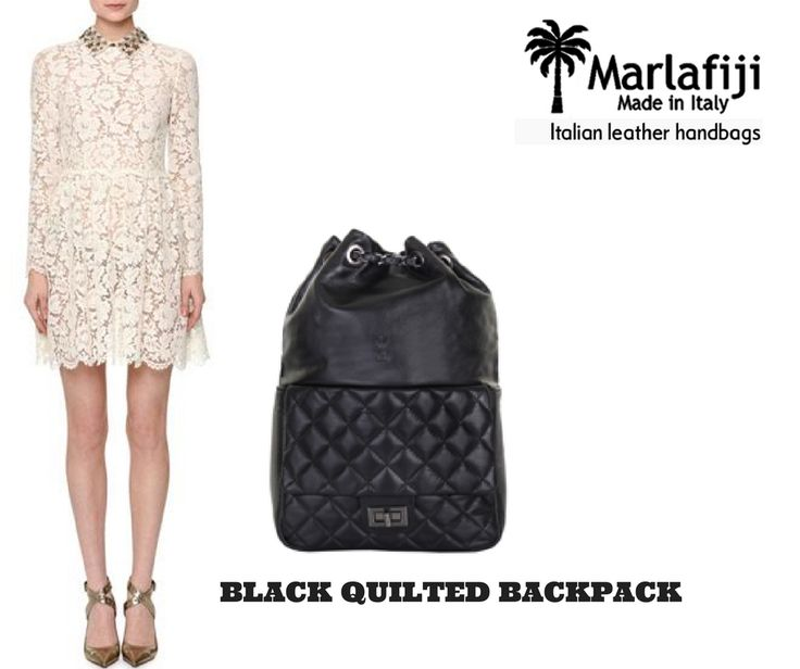 """Hopefully ladies you are dress and bag ready for the festive season. We are loving this Valentino dress with Peter Pan Collar complete the look with our super stylish Marla Fiji BRIDGET BLACK QUILTED BACKPACK. or simply a perfect gift idea for someone special Get the Look !! https://goo.gl/9NJPBt FREE SHIPPING WITHIN AUSTRALIA""""!! #Marlafiji #TopModel #Italian #leatherhandbags"""