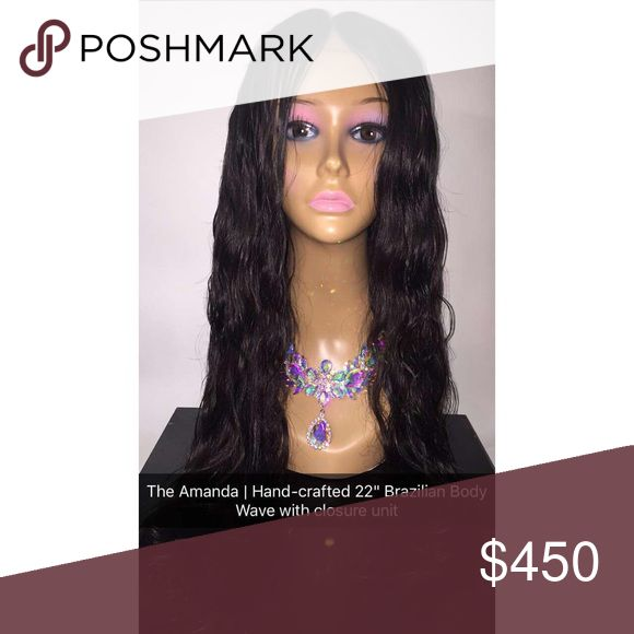 22 inch Brazilian body wave Lace closure unit Hand crafted lace closure with 4 bundles premium Brazilian body wave hair. Custom center part. Accessories Hair Accessories