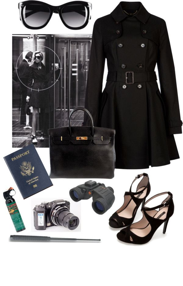 Love everything in here.  dark glasses, trench coat, high heels, passport - Maybe use as design elements or simply as inspiration