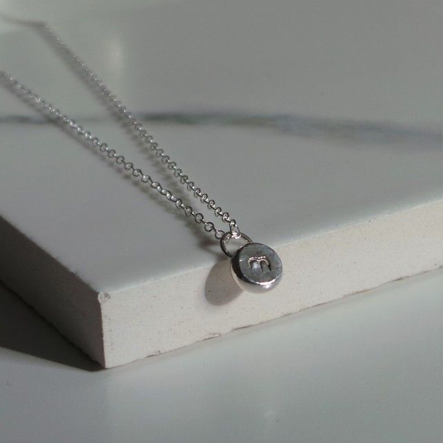 Initial Dot Necklace - Personalised Silver Necklace - Minimalist Jewellery Gift £25.00