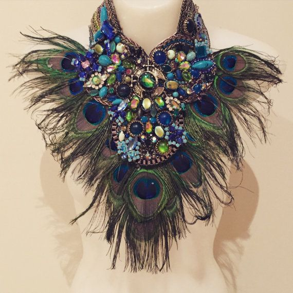 FAIRY WINGS peacock feather fringe huge super statement statement bib collage necklace