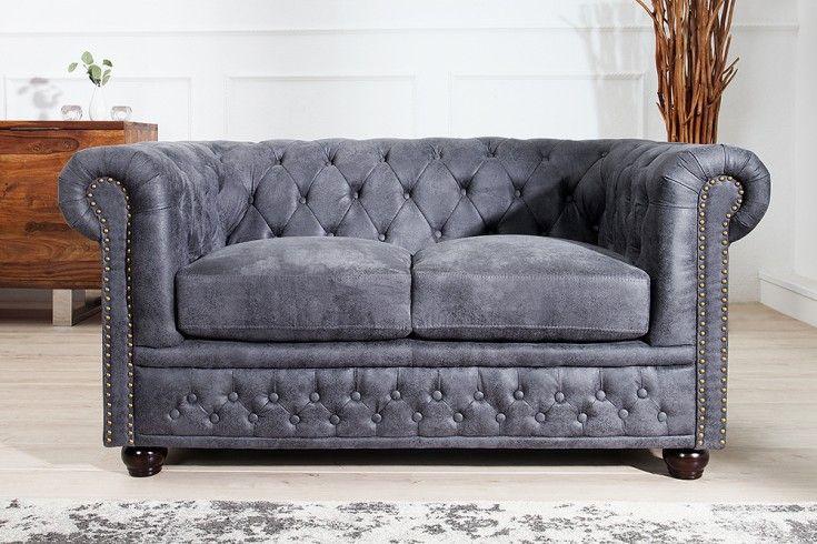 #DESIGN!  -->  Edles Chesterfield 2er Sofa Antik Grau Knopfheftung und Nietenbesatz Chesterfield Design - Farbe:  Grau -  Microfaser --> €  399.00 //check out more -->  Riess-Ambiente.de