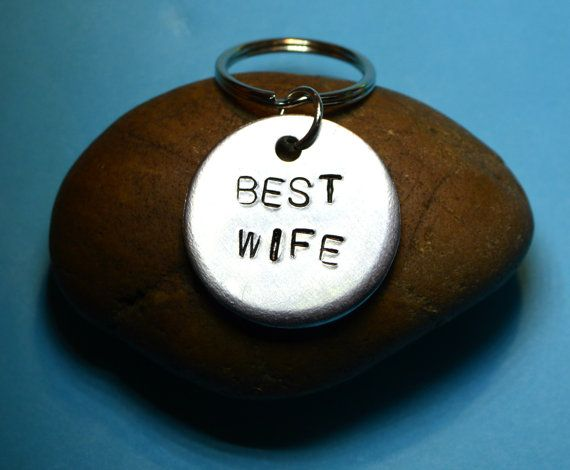 Wife giftKeyring/necklace Gift for wife by BeesHandStampedGifts