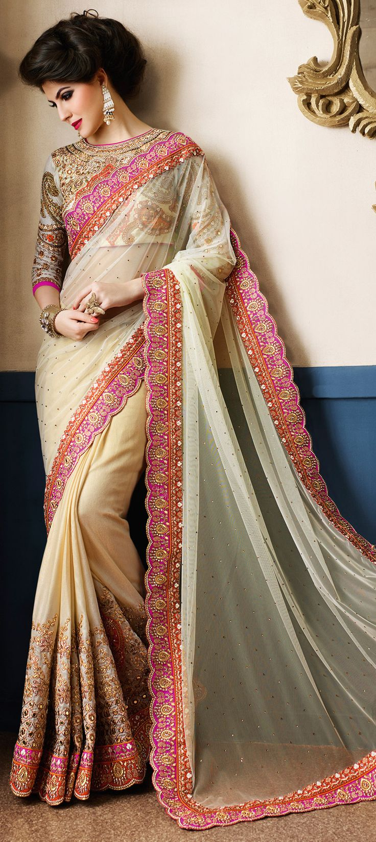 Sheer Elegance - Beige Embroidered Saree with Mirror Work!  191019: Beige and Brown color family Bridal Wedding Sarees, Party Wear Sarees with matching unstitched blouse. www.indianweddingsaree.com