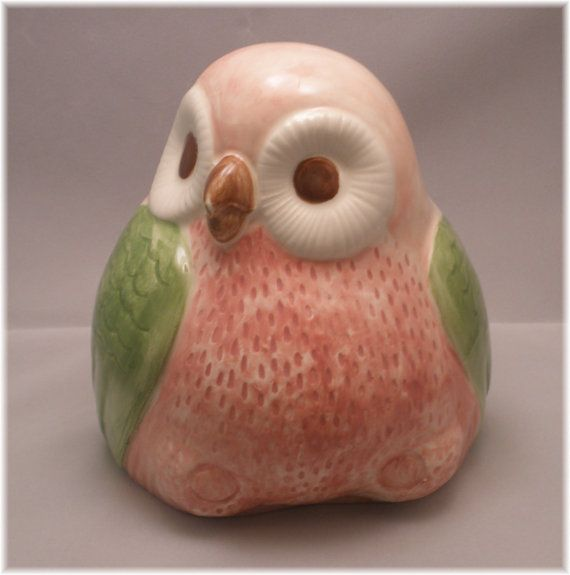 Ceramic Owl Vintage Bank in Pinks and Green by Angelheartdesigns, $28.00