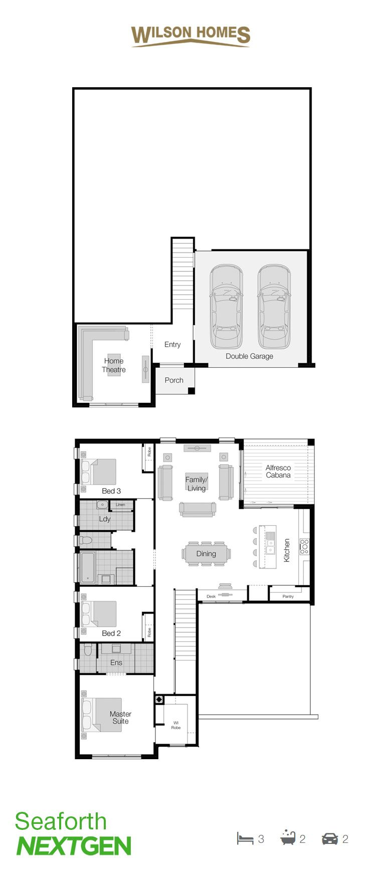 SeaforthFloor Plan by Wilson Homes - NextGen Portfolio - This split level design comfortably sits in harmony with its surrounds and delivers functional living solutions which the whole family can enjoy. Learn more about this home athttp://ow.ly/lXlO30geJ24 #splitlevelhome #wilsonhomes