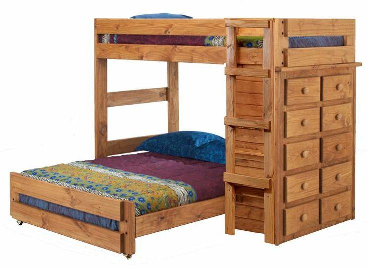 twin over full l shaped bunk bed with 10 drawer chest - Hausgemachte Etagenbetten Fr Mdchen