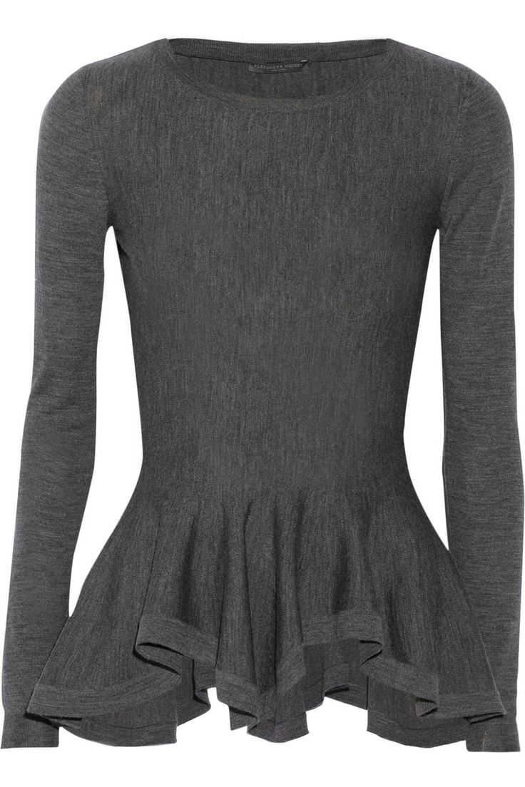 Darling sweater to pair with a statement necklace and colorful pencil skirt. Alexander McQueen | Wool peplum sweater