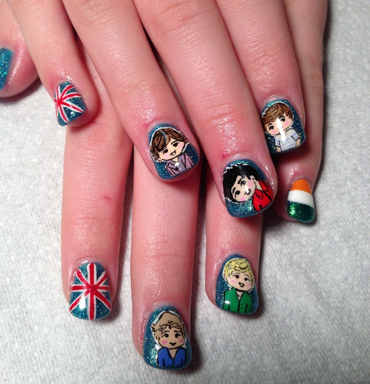 One Direction nails I did on my daughter.  1D