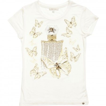 Miss Grant - Ivory T-Shirt with Diamante Butterflies | Childrensalon
