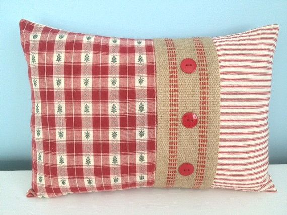 Country Pillow cover. Farmhouse pillow. Cottage pillow. Red and green. Red Ticking. Burlap. Toss pillow. Christmas pillow. Holiday pillow.