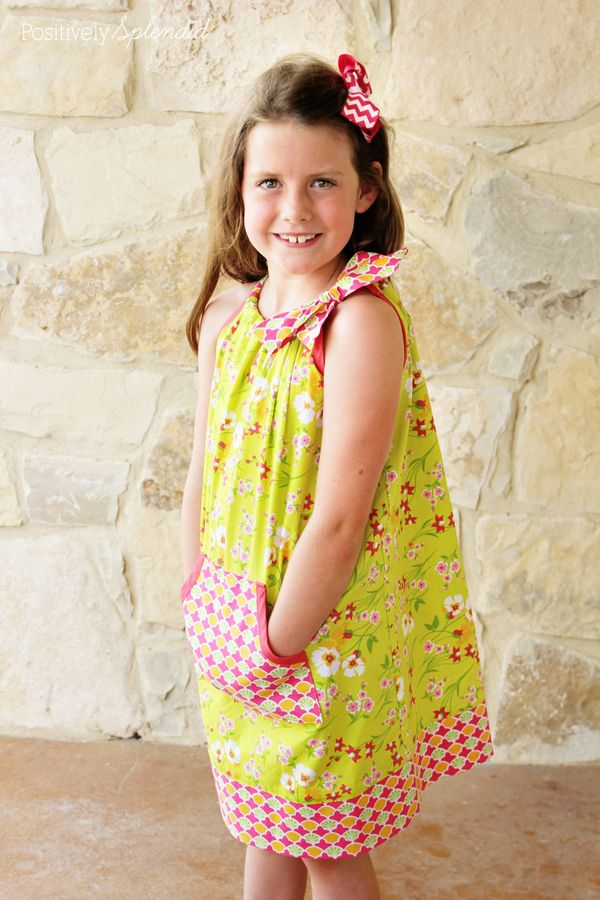 Free tutorial for how to draft patterns for and sew pillowcase dresses and tops. So easy to make and fun to wear!: Club Dresses, Pillowcase Dresses, Sewing Patterns For Girls, Kangaroo Pocket Pattern, Sew Pillowcase, Dress Patterns Girls, Sewing Fun, Dress Pockets