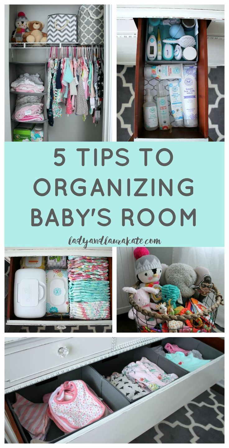 5 simple tips to show you how to help with organizing baby's room! From the dresser, closet and toys!