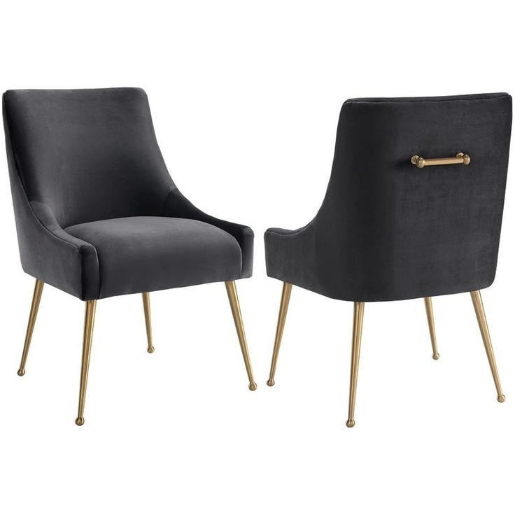 Beatrix Grey Velvet Side Dining Chair W Handle On Gold
