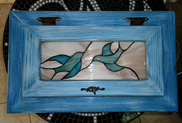 "Handmade wooden box with stained glass ""The birds"""
