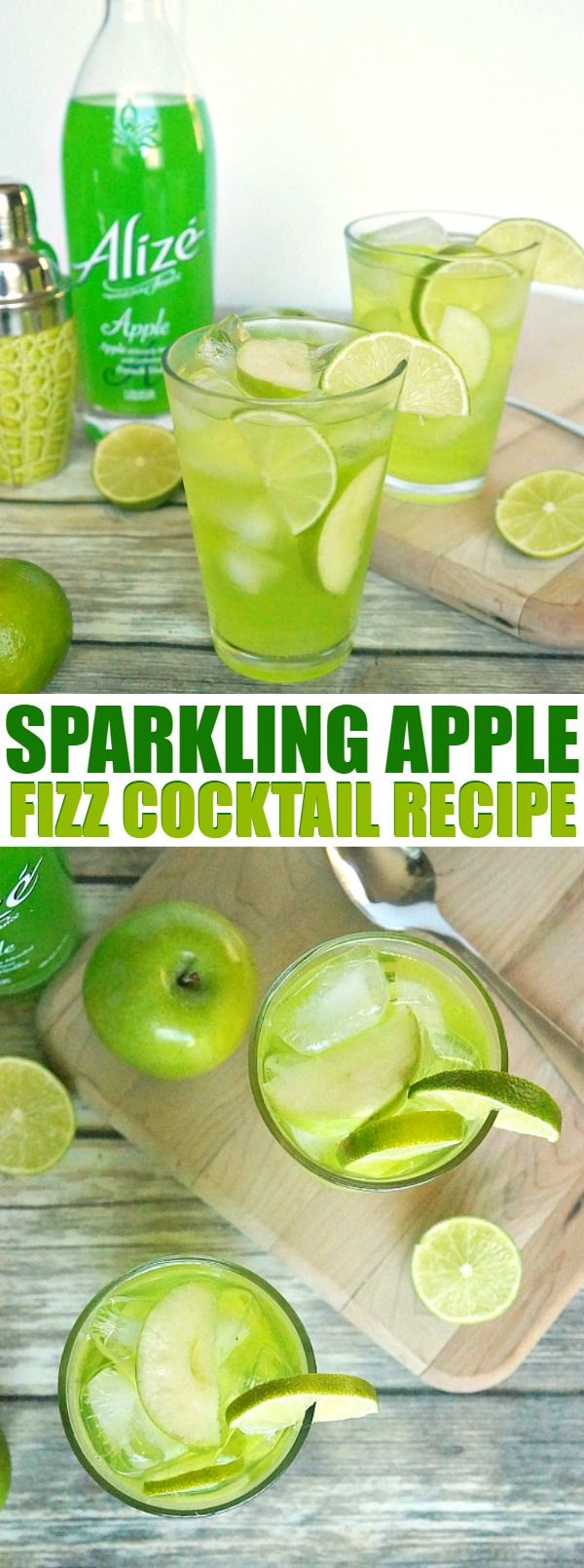 Sweet Sparkling Apple Fizz Cocktail Recipe - this apple cocktail recipe is made with Alizé Apple French Vodka, so delicious and refreshing! #ad #AlizeApple