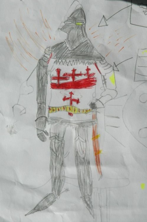 Knight's BattleArtist: Will B., age 6. Posted by: Anonymous (unregistered).Picture drawn by boy from St. Peter's, named Will, from 1Y