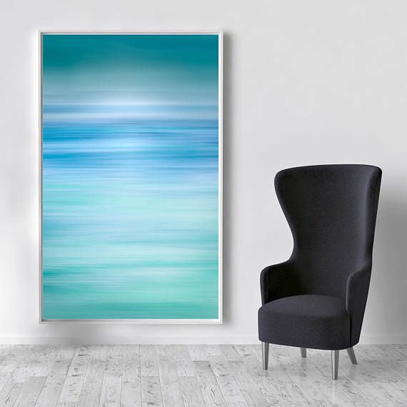 Blue Abstract Canvas Large Canvas, XXL, Abstract Seascape, Extra large wall art, Teal, Blue, Huge Canvas, Extra large, livingroom decor, XXL