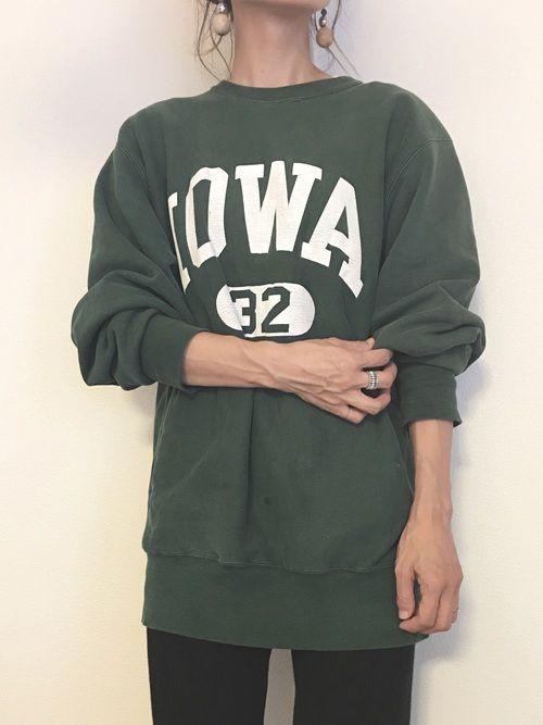 欲しかった緑スウェット。 古着屋さんで発見♡