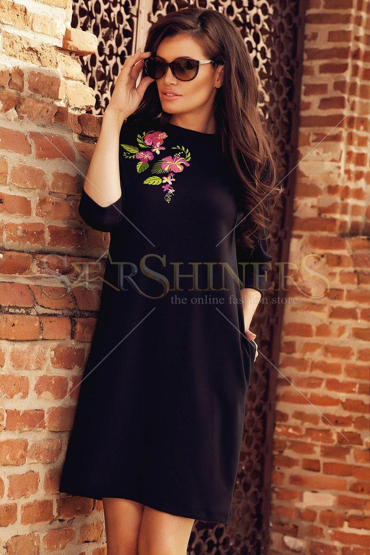 StarShinerS Brodata Exotic Black Dress