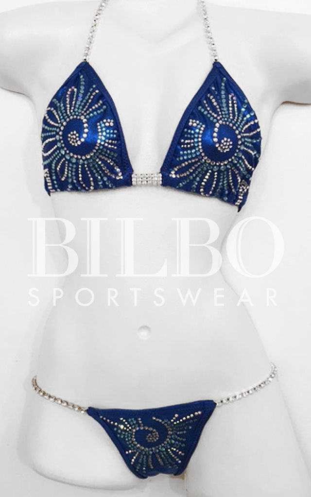 Custom suits made to fit! Bilbo suits are made to your specifications in any color and coordinating stone colors. #bikini #bodybuilding #blue #competition #npc #ipl #wbo #ifbb