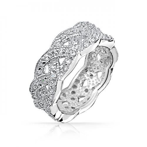 Pave CZ 925 Sterling Silver Infinity Eternity Band Braided Knot Ring