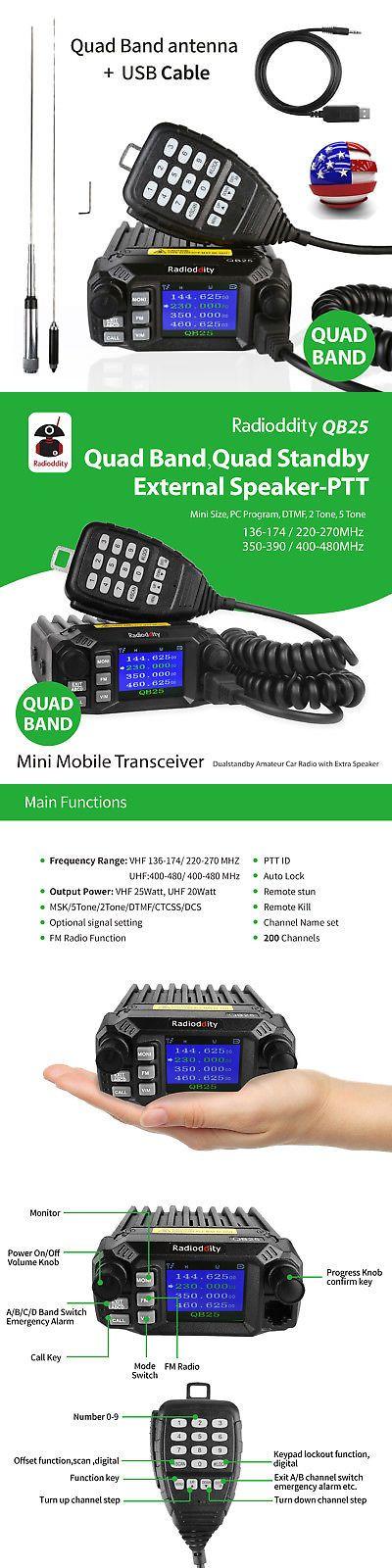 Ham Radio Transceivers: Radioddity Qb25 Pro Quad Band Mobile Car Radio Transceiver V Uhf 25W +Antenna Us -> BUY IT NOW ONLY: $118.99 on eBay!