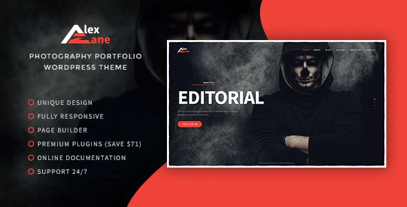 Alex Zane - Photo/Portfolio WordPress Theme WordPress / Creative / Portfolio by VLThemes