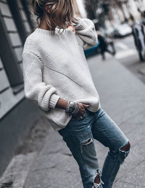 """classy-lovely: """" Sweater Ripped Jeans """""""
