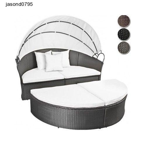 Black Patio Garden Set Sun Bathe Circular Bed Rattan Lounger Cushions Canopy Set