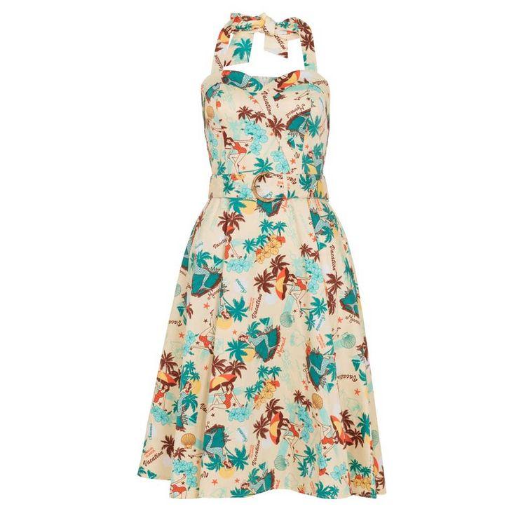 Voodoo Vixen Ella halter jurk met tropische print multicolours - Rocka