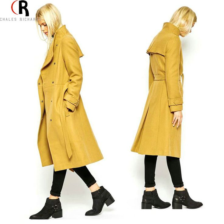 Winter Yellow Tweed Winter Woollen Coat Trench Loose Casual Long Sleeve Wide Lapel Sashes Tied 2016 Spring Women New Outwear