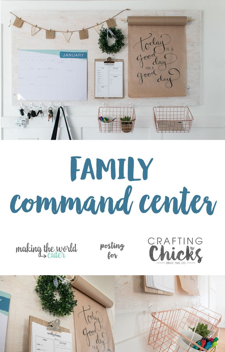 DIY Farmhouse Style Family Command Center with mounted kraft paper roll dispense...