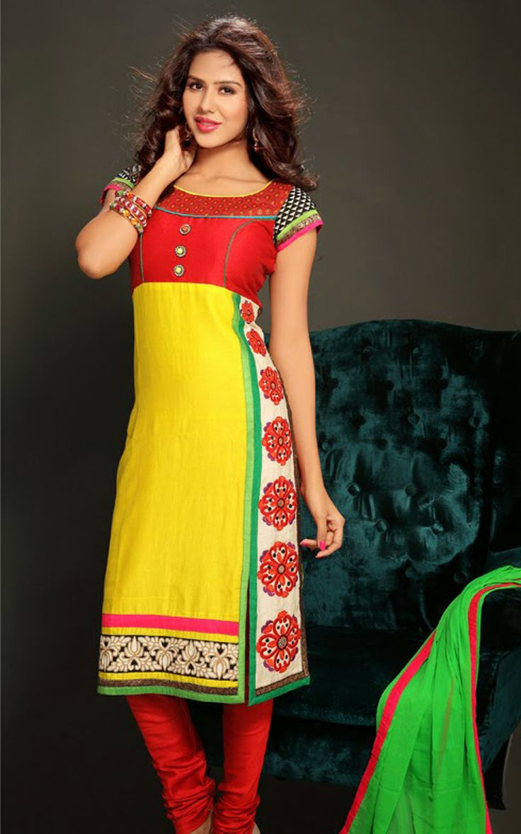YELLOW & RED CHANDERI COTTON SALWAR KAMEEZ - DIF 29717