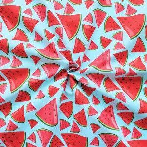 "100% Baumwollstoff ""Melonen"" Farbe Hell-Blau"