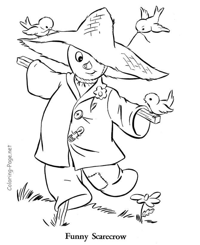 Fall coloring page - Autumn scarecrow