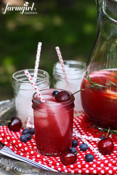 Sangria in Rosé, Bourbon, and Blue - www.afarmgirlsdabbles.com @farmgirlsdabble