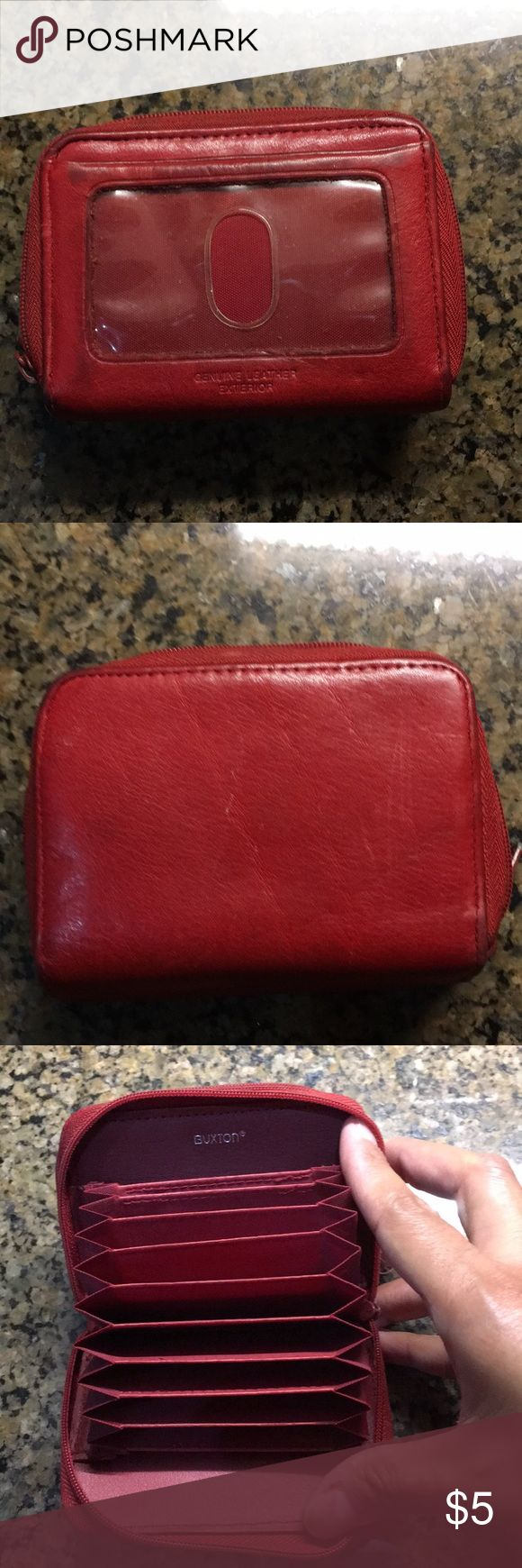Small wallet Good used condition, red leather Buxton wallet. Perfect to store ID, cards and enough space for some cash and coins. Buxton Accessories Key & Card Holders