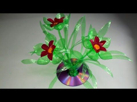 How to make make Awesome Sun flowers vase making craft water bottle recycle flower - YouTube