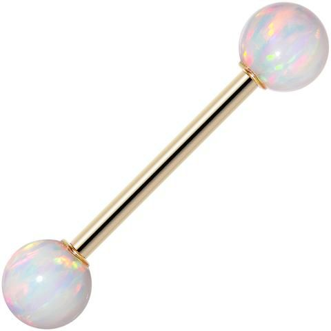 """14k Yellow Gold 6mm White Synthetic Opal Barbell Tongue Ring 14 Gauge 5/8"""""""