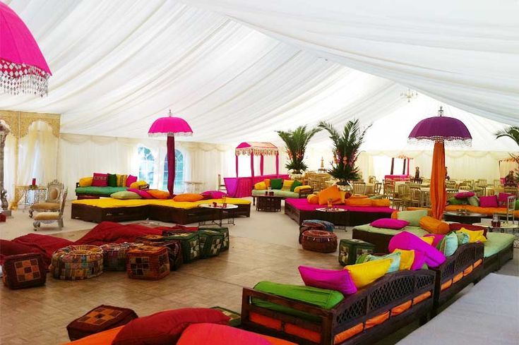 Colourful Indian Wedding Marquee with gorgeous umbellas. A parquet dance floor is under the front seating