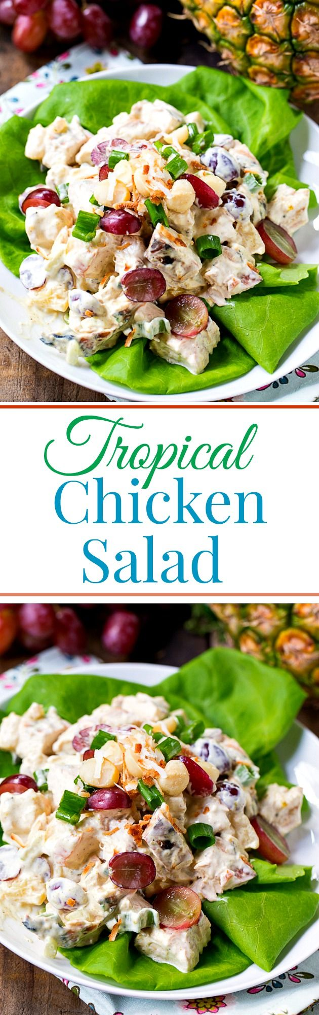 Tropical Chicken Salad is full of red grapes, pineapple, macadamia nuts, and shredded coconut for a tropical twist on chicken salad. Packed full of sweet and savory flavors, this is anything but a bland chicken salad.
