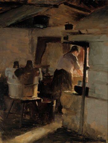 In front of the stove - probably 1884 -  Albert Edelfelt -  Atheneum Art Museum Helsinki - Lieden ääressä  - öljy puulle - luultavasti 1884 - Ateneumin taidemuseo