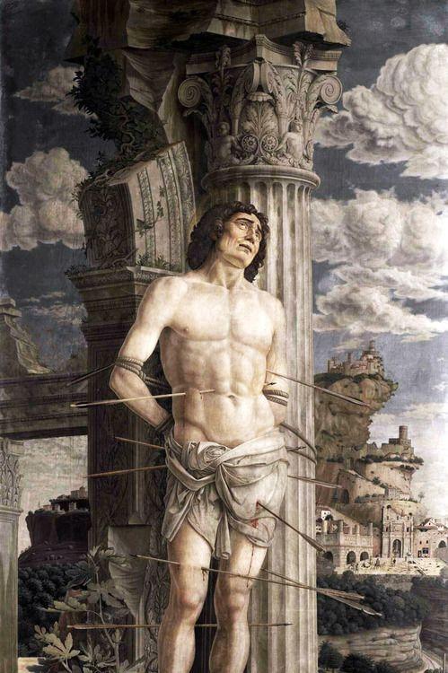 Andrea Mantegna - Martirio di San Sebastiano (c. 1480). Dettaglio